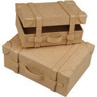 Koffer, Mini, H: 4,5+5 cm, L: 7.5+10 cm, B: 11+14 cm, 2 Stk/ 1 Set