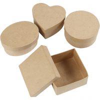 Mittelgroße Schachteln, H: 5 cm, D: 10-12 cm, 4 Stk/ 1 Pck