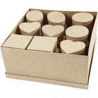 Mittelgroße Schachteln, H: 5 cm, D: 10-12 cm, 28 Stk/ 1 Pck
