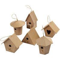 Mini-Vogelhäuser, H: 7 cm, 6 Stk/ 1 Pck