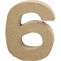 Zahl, 6, H: 10 cm, B: 8,2 cm, Dicke 1,7 cm, 1 Stk