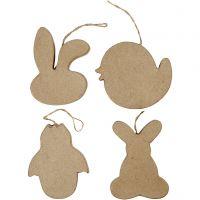Oster-Aufhänger, Häschenkopf, Küken, Küken im Ei und Kaninchen, H: 10 cm, 4 Stk/ 1 Pck