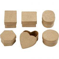 Mini-Schachteln, H: 3 cm, D: 4-6 cm, 6 Stk/ 1 Pck