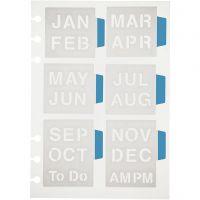 Schablone, Monate, 12,5x17,5 cm, 1 Bl.