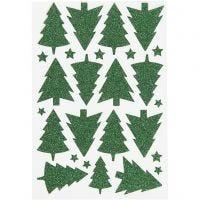 Glitzer-Sticker, Weihnachtsbäume, 12x18,5 cm, Grün, 1 Bl.