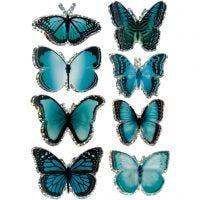 3D-Sticker, Schmetterling, Größe 20-35 mm, Blau, 8 Stk/ 1 Pck