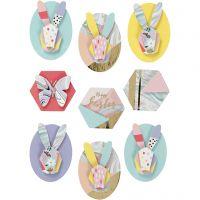 3D Sticker, Kaninchen, H: 30-45 mm, B: 32-35 mm, 9 Stk/ 1 Pck