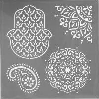 Schablone, Ethno-Muster, Größe 30,5x30,5 cm, Dicke 0,31 mm, 1 Bl.