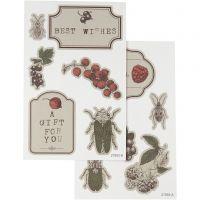 Stickers, 9x14 cm, 4 Bl. sort./ 1 Pck