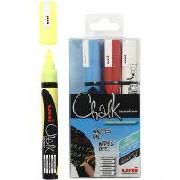 Kreide-Marker, Strichstärke 1,8-2,5 mm, Blau, Rot, Weiß, Gelb, 4 Stk/ 1 Pck