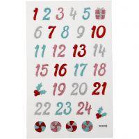 Glitzer-Sticker, Advent-Zahlen, 10x16 cm, 1 Bl.