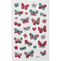 Glitzer-Sticker, Schmetterlinge, 10x16 cm, 1 Bl.