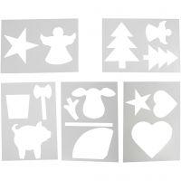 Schablonen mit Weihnachtsmotiven, A4, 210x297 mm, Weiß, 5 Bl. sort./ 1 Pck