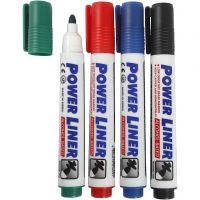 Whiteboard Marker, Strichstärke 4 mm, Schwarz, Blau, Grün, Rot, 4 Stk/ 1 Pck