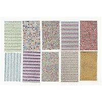 Strassstein-Sticker, D: 4-6 mm, 16x9,5 cm, Sortierte Farben, 10 Bl./ 1 Pck