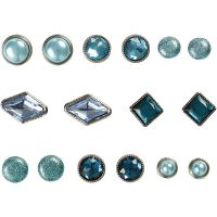 Deko-Nieten / Brads , Größe 8-18 mm, Blau, 16 Stk/ 1 Pck