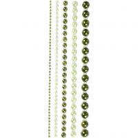 Halbperlen, Größe 2-8 mm, Grün, 140 Stk/ 1 Pck