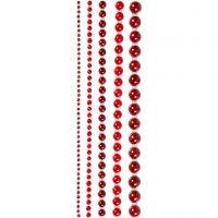 Halbperlen, Größe 2-8 mm, Rot, 140 Stk/ 1 Pck