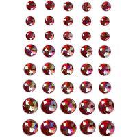 Strasssteine, Größe 6+8+10 mm, Rot, 40 Stk/ 1 Pck
