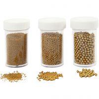 Mini Beads - Sortiment, Größe 0,6-0,8+1,5-2+3 mm, Gold, 3x45 g/ 1 Pck