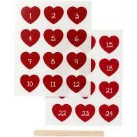 Rub-on Sticker, Adventkalender-Zahlen, H: 32 mm, B: 28 mm, 12,2x15,3 cm, Rot, 1 Pck