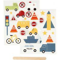 Rub-on Sticker, Transport, 12,2x15,3 cm, 1 Pck
