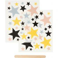 Rub-on Sticker, Sterne, 12,2x15,3 cm, 1 Pck