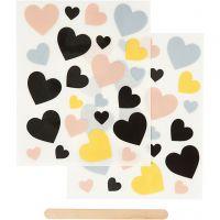 Rub-on Sticker, Herzen, 12,2x15,3 cm, 1 Pck