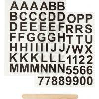 Rub-on Sticker, Buchstaben & Zahlen, H: 17 mm, 12,2x15,3 cm, Schwarz, 1 Pck