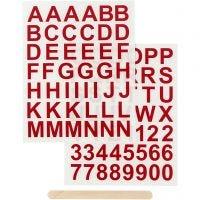 Rub-on Sticker, Buchstaben & Zahlen, H: 17 mm, 12,2x15,3 cm, Rot, 1 Pck