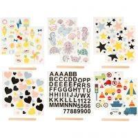 Rub-on Sticker, 12,2x15,3 cm, 12 Bl./ 1 Pck