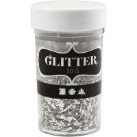 Glitter, Größe 1-3 mm, Silber, 30 g/ 1 Dose