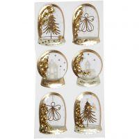 Schüttel-Sticker, Engel, Baum, Häuser, Größe 49x32+45x36 mm, Gold, 6 Stk/ 1 Pck