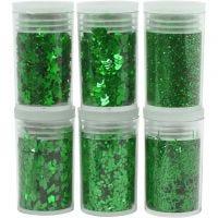 Glitter-/Pailletten-Sortiment, Grün, 6x5 g/ 1 Pck