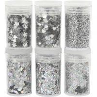 Glitter-/Pailletten-Sortiment, Silber, 6x5 g/ 1 Pck