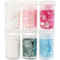 Glitter-/Pailletten-Sortiment, Pastellfarben, 6x5 g/ 1 Pck
