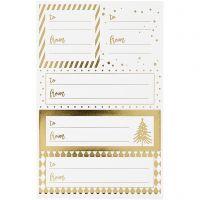 Notiz-Sticker, 9x14 cm, Größe 42x39+84x29 mm, Gold, Weiß, 4 Bl./ 1 Pck