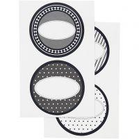 Sticker, D: 4 cm, 9x14 cm, 4 Bl. sort./ 1 Pck