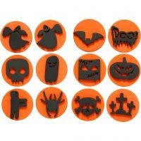 Moosgummi-Stempel, Halloween, D: 7,5 cm, Dicke 2,5 cm, 6 Stk/ 1 Pck