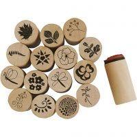 Deco Art-Stempel, Blumen- und Blätter, H: 26 mm, D: 20 mm, 15 Stk/ 1 Pck