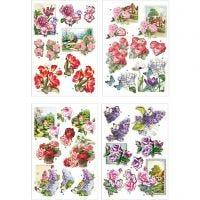 3D-Découpage-Motive, Blumen und Schmetterlinge, 21x30 cm, 4 Bl./ 1 Pck