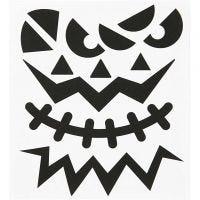 Sticker, Halloween - große Gesichter, 15x16,5 cm, 1 Bl.