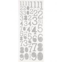 Glitzer-Sticker, Zahlen, 10x24 cm, Silber, 2 Bl./ 1 Pck