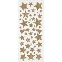 Glitzer-Sticker, Sterne, 10x24 cm, Gold, 2 Bl./ 1 Pck