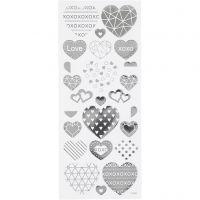 Stickers, Herzen, 10x24 cm, Silber, 1 Bl.