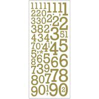 Glitzer-Sticker, Zahlen, 10x24 cm, Gold, 2 Bl./ 1 Pck