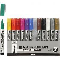Glas-/Porzellanmalstift, Strichstärke 1-2 mm, Halbdeckend, Sortierte Farben, 12 Stk/ 1 Pck
