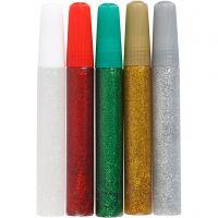 Glitzerkleber, Sortierte Farben, 5x10 ml/ 1 Pck
