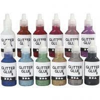 Glitzerkleber, Sortierte Farben, 12x25 ml/ 1 Pck