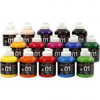 A-Color Acrylfarbe , Glänzend, Sortierte Farben, 15x500 ml/ 1 Box